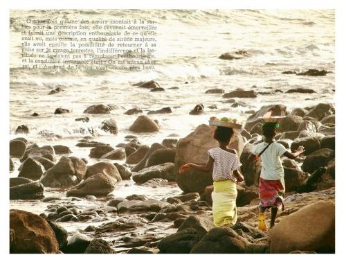"""""""On est mieux chez soi, au fond de la mer c'est encore plus beau"""". From 'La Petite Sirène', second-hand book found in Marseille. Photo taken at Les Almadies, Senegal."""